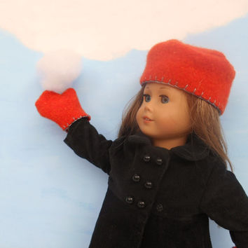 Wool Doll Hat and Mittens, Russian Style Hat, Orange Hat and Mittens,18 Inch Dolls Such as American Girl Dolls, Winter Doll Clothes