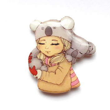 Christmas gift, Animal brooch Little girl and koala, Free shipping, gifts under 25