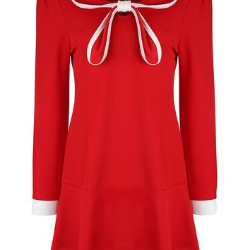 Casual Doll Collar Bowknot Contrast Trim Skater Dress