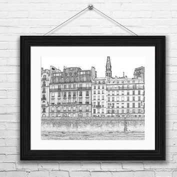 Paris Sketch of Apartments by the Seine-- Instant Download Paris France, Black and White Sketches, Wall Art, Modern Art,