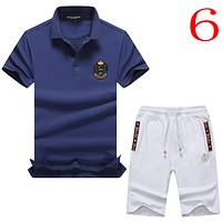 Dolce & Gabbana Casual Men Short Sleeve  Shirt Top Tee Shorts Set Two-Piece