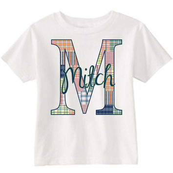 Boy's Madras Initial on Personalized White T-Shirt
