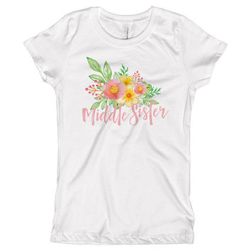 Middle Sister Watercolor Flowers Youth Size T-Shirt