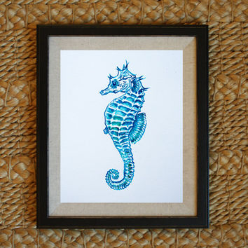 seahorse painting coastal decor coastal home decor ocean theme decor ocean nursery beach art 8x10 11x14 - Beach Theme Decor