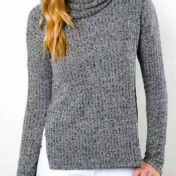 Solid Color Turtleneck Side Slit Sweater