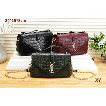 YSL Yves Saint Laurent Women Shopping Crocodile texture pattern Crossbody Shoulder Bag Satchel