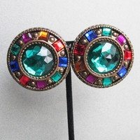 BIG 1980's Vintage Jeweltone Rhinestone Etruscan Button Earrings