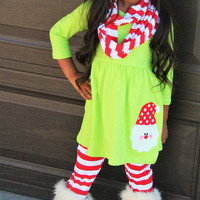 Santa 3 pc Outfit Set. Christmas Outfit. Holiday Outfit. Infinity Scarf. Ruffle Pants. Little Girls. Baby Girls. Clothing. Photo Prop.