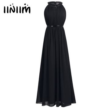 Women Summer Dress 2018 Ladies Chiffon HalterNatural Long Dress Graduation Party Dress Evening Prom Gown Maxi Dress for Womens