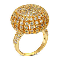 DC1989 Environmental Friendly Women Luxury 18K Gold Plated Rings AAA Cubic Zirconia Anti-Allergic Engagement Ring Free Shipping