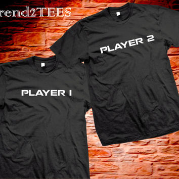 Player 1 Player 2 Shirts Couples Matching Tshirts, Player Couples Shirts, Tshrits for Couples, Shirts Set Player 1 Player 2