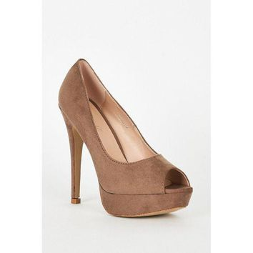 Beige Faux Suede High Heel Platform Shoes
