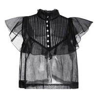 Sheer Ruffle Sleeve Top by Natasha Zinko for Preorder on Moda Operandi