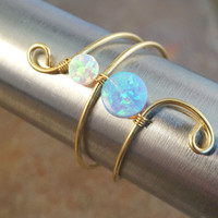 Beautiful White and Blue Opal Ring Wire Wrapped Silver or Gold - Made in Your Size
