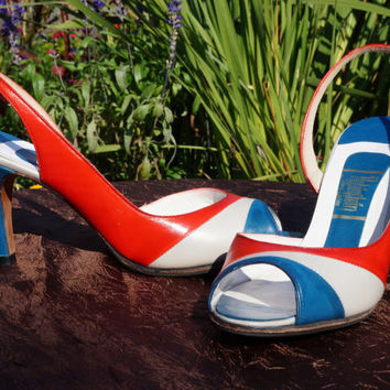 """80s Peep Toe, SlingBack Pumps in Red White and Grey, 3.25"""" Heels, Size 6.5 M, No Slip Soles, Rare D'Antonio for Rubinstein Fine Shoe Store"""