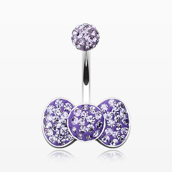 Multi-Gem Sparkle Bow-tie Belly Button Ring