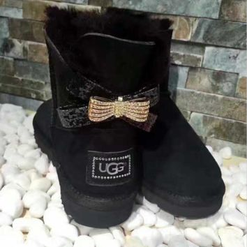 UGG Hot style wool queen diamond bow ultra female beauty with thick warm ugg boots two style Black(two bowknot)