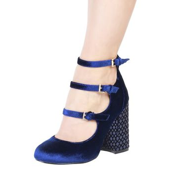 Fontana 2 0 Blue Leather Straps Pumps