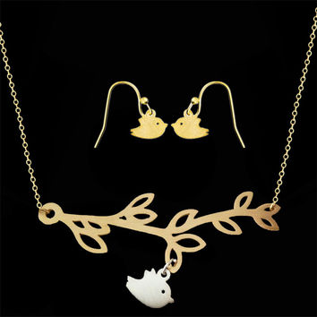 GORGEOUS TALE Bohemia Jewelry Sets Cute Birds Pendant Branch Necklace Gold Silver Birds Drop Earring Accessories Women Jewelry