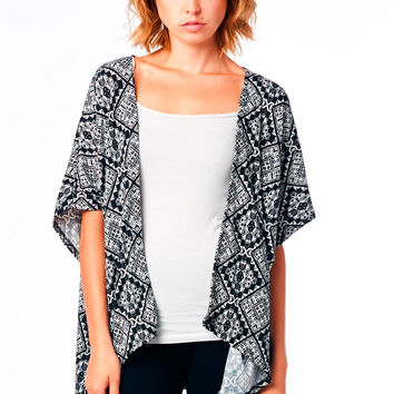 Black and White Printed Knit Cardigan with Open Front