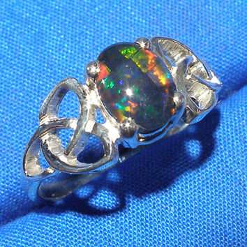 Celtic Triskel Ring, Mosaic Opal Triplet, Hand Crafted Recycled Sterling Silver, October Birth Stone