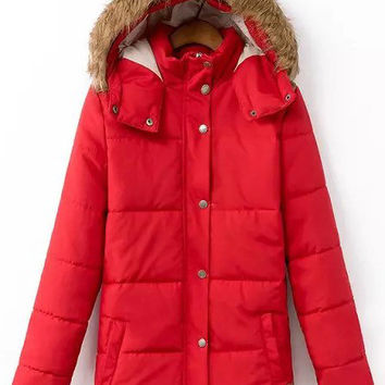 Red Hooded Drawstring Zipper Coat