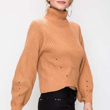 Hole The Phone Turtleneck Sweater in Apricot