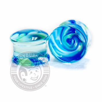 Blue and Green Swirl Pyrex Glass Plugs