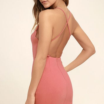 Heart's Content Rusty Rose Bodycon Dress