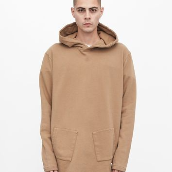 Diagonal Pocket Hoodie in Washed Khaki