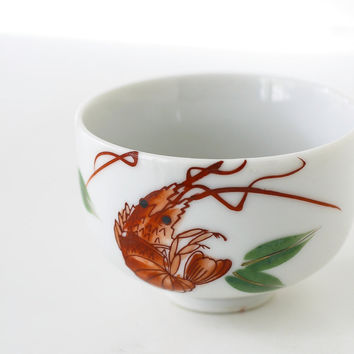 Vintage Japanese Teacup Omochaya Prawn Shrimp and Bamboo