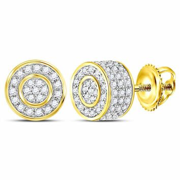 10kt Yellow Gold Mens Round Diamond 3D Cluster Stud Earrings 5/8 Cttw