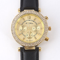 Luxury Gold Rhinestone Watch Black or White