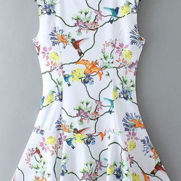 White Floral Sleeveless Ruffled Hem Mini Dress
