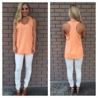 Orange Sherbet T-Back Cotton Tank