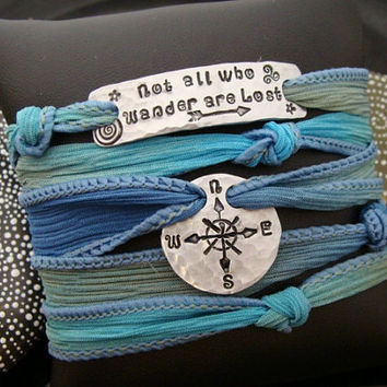 "SALE D2E silk yoga wrap bracelet hand stamped ""Not All Who Wander Are Lost"" w/ compass rose charms"