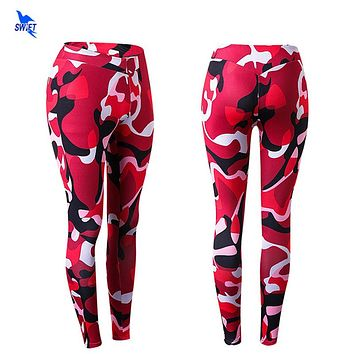 Camouflage Patterned High Waist Leggings