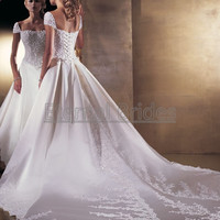Duchess Satin with Applique Basque Waist  Cap Sleeves Ball Gown Wedding dress cathedral Train