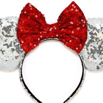 Silver Sequin Ears and Red Bow