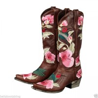 Lane Western Boots Womens Cowboy Hummingbird Brown Leather LB0055A