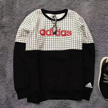 """Multi-color """"Adidas"""" Tartan Letter and Logo Print Long Sleeve Sweater White"""