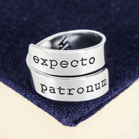 Expecto Patronum - Harry Potter - Adjustable Aluminum Wrap Ring