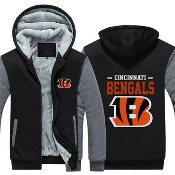 NFL American football Men's winter casual jacket Warm thicken hoodies Cincinnati Bengals