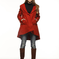New Design Bohemia Wool Winter Cape Coat for Women In Deep Orange - NC474