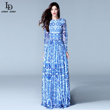 Fashion Women's Long Sleeve Vintage Blue And White Print Dress Brand Maxi Dress