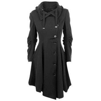 Asymmetric Turn Down Collar Button Coat Overcoat