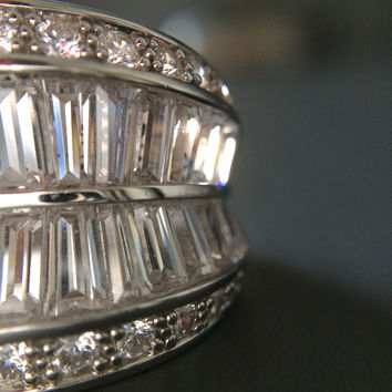 CZ Sterling Silver Fashion Ring - Size 6