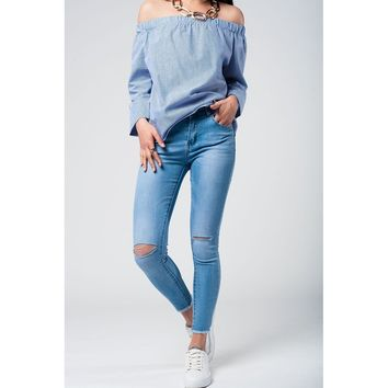 Blue Skinny Mid Waist Cropped Jeans