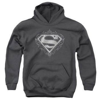 Superman - Tribal Steel Logo Youth Pull Over Hoodie