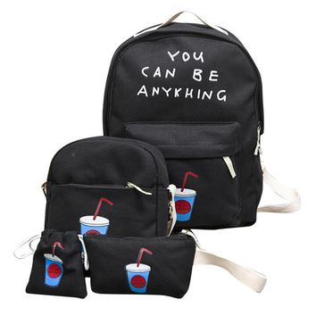 You Can Be Anything 1Set 3pcs Canvas Backpack